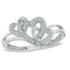 1/10 CT. T.W. Diamond Triple Heart Promise Ring in Sterling Silver