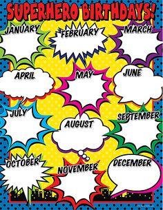 Superhero Birthday Chart                                                                                                                                                                                 More