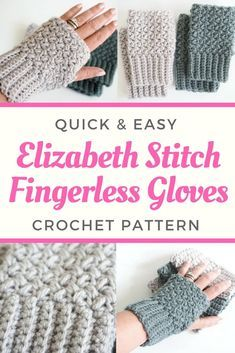 Learn how to make these stunning elizabeth stitch fingerless gloves with this quick and easy crochet pattern. by sharlene Crochet Mittens Pattern, Fingerless Gloves Crochet Pattern, Fingerless Mitts, Easy Crochet Patterns, Free Crochet, Knit Crochet, Crochet Hats, Crochet Needles, Crochet Stitches