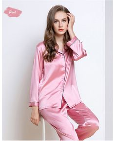 Women s 19MM Mulberry Silk Pajamas Set Long Sleeves Silk Sleepwear Set  1dbead881
