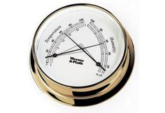 Weems & Plath Endurance Collection 125 Comfortmeter (Chrome): The thermometer displays temperature in both Fahrenheit and Celsius on the left scale, and the hygrometer shows % of relative humidity on the right. Outdoor Wall Clocks, Weather Instruments, Weather Radio, Rain Gauge, Whitehall Products, Relative Humidity, Temperature And Humidity, Beveled Glass, Brass