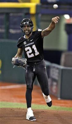 Tampa Bay Rays starting pitcher David Price wears a Vanderbilt football  uniform as he throws in e43da9a73