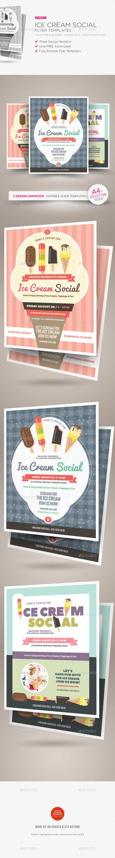 Fantastic PSD  Ice Cream Social Flyer Templates  • Only available here ➝ http://graphicriver.net/item/ice-cream-social-flyer-templates/16365325?ref=pxcr
