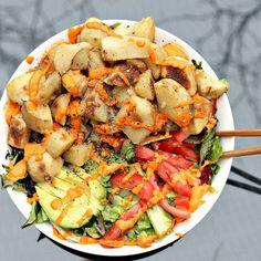 Potatoes,avocados, pepper, greens, sriracha, no medical bills, no weight gain…