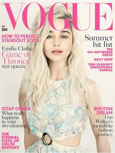 "Emilia Clarke (Daenerys Targaryen) on the May 2015 issue of ""Vogue"" UK. It was a shocker when we first learned that Clarke is actually a brunette, but ""Vogue"" UK is clearly pandering to ""Game of Thrones"" fans — thank you, we appreciate it — by shooting her blonde. Shot by Paolo Roversi."