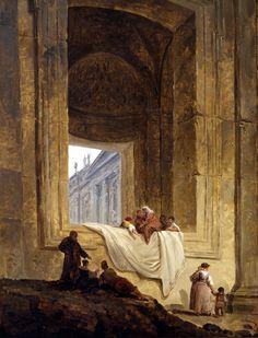 Hubert Robert - Personnages dans une baie à Saint-Pierre de Rome © Musée de Valence, photo Philippe Petiot