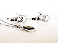 tulip jewelry set art deco clear crystal swarovski by sestras