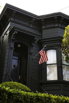 Black Painted San Francisco Victorian with American Flag