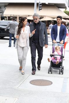 Andrea Bocelli has lunch with his wife and other family at Il Pastaio in Los Angeles.