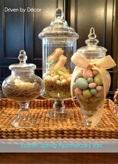 Apothecary Jars Decorated for Spring! With March arriving, it's official - spring is just around the corner! In anticipation of the change in seasons, I was working on decorating my apothecary jars for spring and Easter so my daughter and Easter Brunch, Easter Party, Easter Gift, Hoppy Easter, Easter Eggs, Apothecary Jars Decor, Decoration Vitrine, Driven By Decor, Easter Table