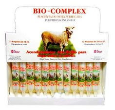 Bio Complex Purified Placenta Sheep Leave in Hair Conditioner 12 Applications by Bio Complex. $32.95. Highly concentrated nutrients leaving your hair completely restored and conditioned. 12 Applications Amps.. The continues use of this product you will have a smooth and complete Restored hair. high shine and exceptional softness.. Dominican Beauty Product. This products contains purified hormones Sheep Placenta. Quaternized Panthenol and other highly concentrated nutrients ...