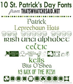 Patrick's Day Fonts.Oh my gosh, these are awesome and perfect for crafting! St Pattys, St Patricks Day, Irish Font, Celtic Fonts, Cool Fonts, Fun Fonts, Police, Cricut Fonts, Creative Lettering