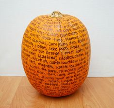 Thankful Pumpkin Tradition | One Artsy Mama- could be a cute center piece