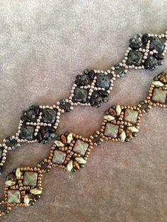 JoMy Creations: Een groen/brons en een zwart/zilver kleurige armband met Silky beads, Seedbeads en Superduo's. Patroon Diadem Bracelet van Wescott Jewelry.