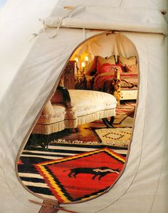 White Buffalo Lodges - Taming a Tepee Article from Architectural Digest August 1994 (I had a queen size bed, twin bed, rocking chair, 8ft table and more inside the tipi I lived in. This is a picture of what can be done with them)