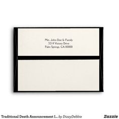b99bfe4b685 Traditional Death Announcement Ivory and Black Death Records
