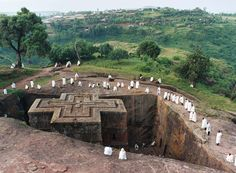 Lalibela, Ethiopia. Churches carved into the ground, out of the bedrock, from 12th and 13th centuries.
