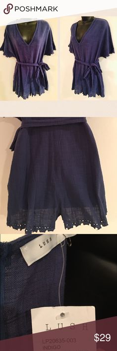 LUSH NORDSTROM'S indigo lace romper with tie Pet and smoke free 🏡. Ships same or next day. No trades. No modeling. Lush Shorts