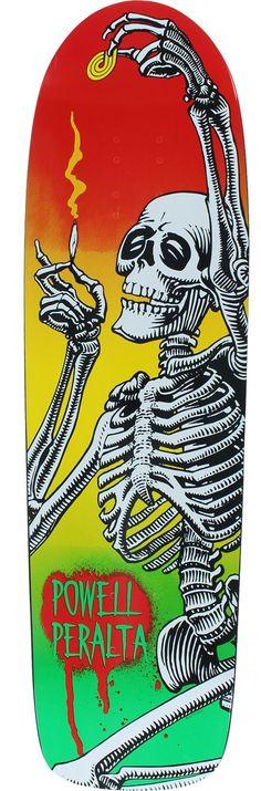 Powell Peralta Hippie Skeleton Funshape Rasta Skateboard