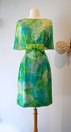 Vintage 1960s Silk Chiffon Cocktail Dress by Jean by xtabayvintage, $298.00