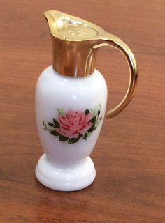 Petite Vintage Avon Milk Glass Pitcher Perfume Bottle with a Rose and Perfume 13