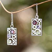 Multi-gemstone dangle earrings, 'Color Bubbles' - Gemstone and Sterling Silver Dangle Earrings from Bali