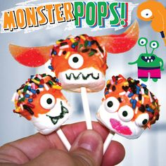 Candy eyeballs, sprinkles & marshmallows combine to make this fun & silly activity: http://www.lazoo.com/activity/2013/06/11/monsterpops/ #crafts #lazoo #marshmallows