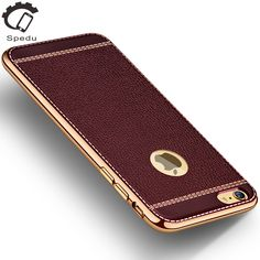 Spedu Litchi grain luxury Plating TPU silicone mobile phone case For iphone 6 6s plus 7 Plating Frame clear cover For iphone6 7 >>> Read more reviews of the product by visiting the link on the image.