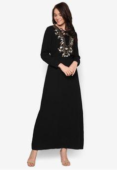 Embroidered Column Dress from Zalia in black_1