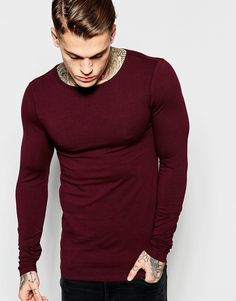 Image 1 of ASOS Extreme Muscle Long Sleeve T-Shirt With Boat Neck In Oxblood