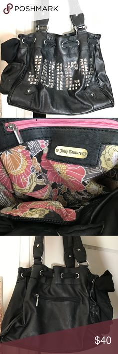 """Juicy Couture """"Juicy"""" Large Purse Juicy Couture leather """"Juicy"""" Bedazzled Large Purse with side black bow and pocket. Floral inside with 2 lined slip pockets and one zipped pocket.  Purse handles and bottom are worn down a bit. Juicy Couture Bags Shoulder Bags"""