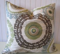for bedroom--Suzani Decorative Pillow Cover--20 x 20 Gorgeous Throw Pillow--Slate Blue, Green, Taupe, Cream, Brown. $45.00, via Etsy.