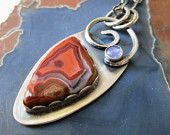 Orange and Blue Teepee Canyon Agate and Purple Blue Tanzanite Swirl Pendant in Sterling Silver Necklace Jewelry