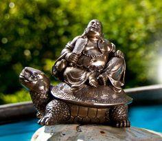 Happy Buddha auf Schildkröte Feng Shui, Buddha, Garden Sculpture, Outdoor Decor, Shopping, Home Decor, Room Decor, Home Interior Design, Home Decoration