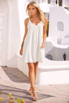Little White Dress | Women's White T-Back Swing Dress by Boston Proper.