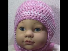 How to Crochet a two tone baby cap with ear flaps