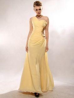 A-Linie Asymmetrisch Bodenlänge Gelb Abendkleid Chiffon