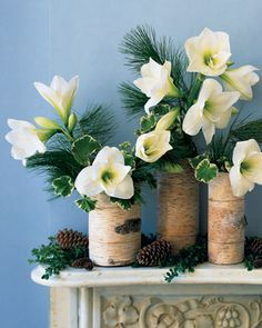 These wooden vases would be pretty as a table setting or mantle piece during the Holiday season!