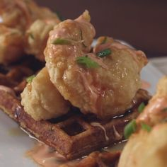 Chicken and waffles are so old news. Get your iron out for this fried shrimp and creole-seasoned waffle combo instead. Fish Recipes, Seafood Recipes, Cooking Recipes, Fried Shrimp Recipes, Sandwiches, Yummy Food, Tasty, Chicken And Waffles, Waffle Recipes