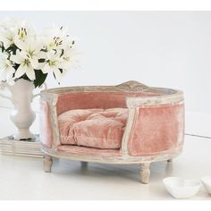 Pink Velvet dog bed - Velvet French Bedroom Furniture I don't have a dog but if I did it would have a bed like this Pink Bedding, Luxury Bedding, Bedding Sets, Camilla Frances, Pink Dog Beds, Doggie Beds, Dog Sofa Bed, Small Dog Beds, Small Dogs