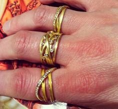 All wrapped in gold- rings by Barbara Heinrich- available @QUADRUM- photo credits: www.instagram.com/jewelry_maven