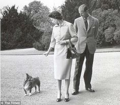 Queen Elizabeth, Prince Phillip & #corgi.   c/o The Corgi Chronicles: January 2010