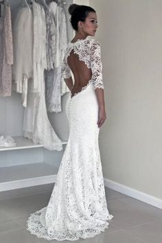 Long Sleeve Lace Open Back Mermaid Wedding Dresses,  2017 Long Custom Wedding Gowns, Affordable Bridal Dresses, 17117