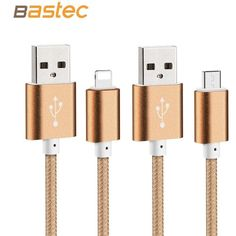 Bastec USB Data Charger Cable Nylon Braided Wire Metal Plug Micro USB Cable for iPhone 6 6s Plus 5s 5 iPad mini Samsung Sony HTC