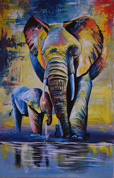 African oil painting mama and baby elephant 24 8243 W x 36 8243 H African oil painting mama and baby elephant 24 8243 W x 36 8243 H Manuela Fuhrmann fuhrmannsteffen Acrylbilder African oil painting mama nbsp hellip Painting inspiration African Art Paintings, Oil Pastel Paintings, Oil Pastel Drawings, Oil Pastel Art, Oil Painting Abstract, Animal Paintings, Art Drawings, Knife Painting, Paintings Of Elephants
