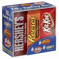 Celebrate with this Hersheys candy bar assortment. From Reeses peanut butter cups to Kit Kat bars to rich Hersheys milk chocolate bars theres a little something for everyone. Hershey Milk Chocolate Bar, Reese's Chocolate, Chocolate Peanuts, Chocolate Recipes, Vera Bradley, Kit Kat Bars, Hershey Candy Bars, Reeses Peanut Butter, Halloween Cookies