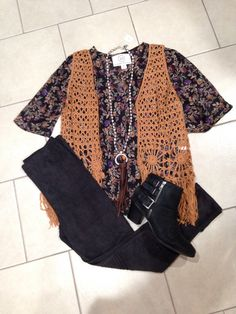 Boho Chic - Turn up the volume in this fringe vest, faux suede leggings, and floral top!