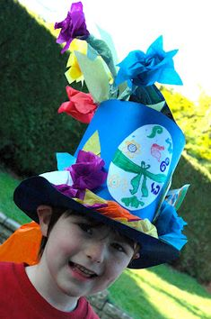 """My son Davide won the """"Easter Hat Competition"""" at his School with this original creation! Just using cardboards, pencils or markers, scissor, glue and coloured tissue paper… Easter Art, Easter Crafts, Crafts For Kids, Easter Ideas, Crazy Hats, Funky Hats, Easter Hat Parade, Bonnet Hat, Easter Celebration"""
