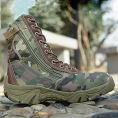 0987b4915 Spring Men Military Tactical Boots High Top Canvas Round Toe Zipper Lace Up  Combat Army Boot