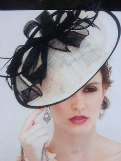 c8319365d2b Classy Black White Ivory Feather Linen Fascinator Hat Headband Ascot  Wedding New